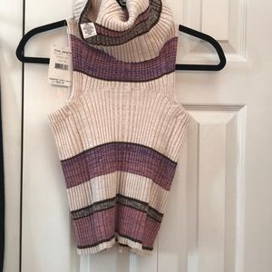 Free People XS purp/multi cowlneck sleeveless rind
